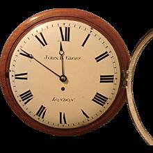 English Mahogany and Oak Wall Clock by Gross