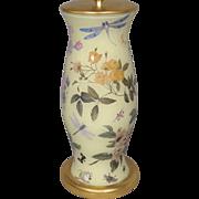 English Decalcomania Glass Table Lamp