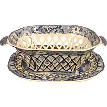 Victorian Staffordshire Blue and White Basket with Under Plate