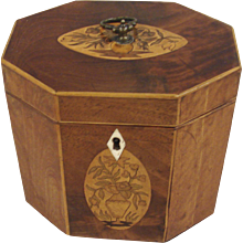 George III Octagonal Inlaid Mahogany Tea Caddy