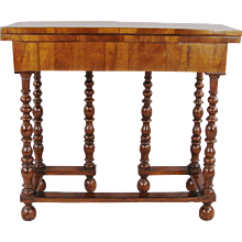 William and Mary Inlaid Walnut Gateleg Game Table