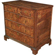 William and Mary Walnut 5-Drawer Chest