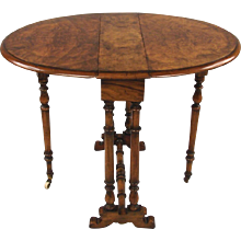 Burl Walnut Small Table With Drop Sides