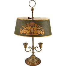 French Brass Bouillotte Lamp with Mermaid Decorated Shade