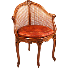 Louis XV Walnut Caned Armchair