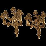Louis XV Style Brass 5-Light Sconces