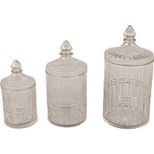 American Victorian Cut-Glass Graduated Covered Jars