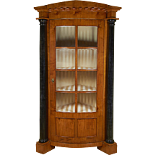 Biedermeier Satin Birch or Fruitwood Corner Cabinet