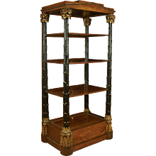Biedermeier Satinwood Parcel-Gilt Ebonized Etagere