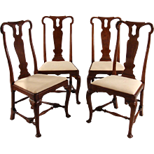 4 Queen Anne Walnut Chairs