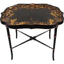 English Victorian Papier Mache Tray on Stand
