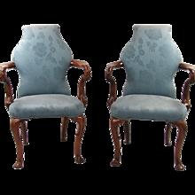 George II Style Walnut Upholstered Armchairs