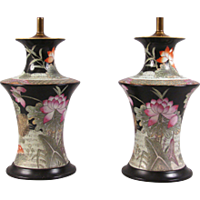 Chinese Famille Noir Vases as Table Lamps