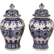 Chinese Blue and White Ming Style Vases with Lids