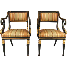 Regency Parcel Gilt Open Armchairs
