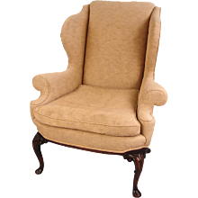 Georgian Style Upholstered Wingback Armchair
