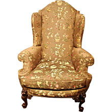 PAIR Victorian Style Upholstered Wingback Armchairs
