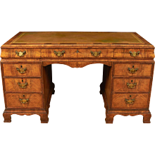 English Walnut Carved Pedestal Desk