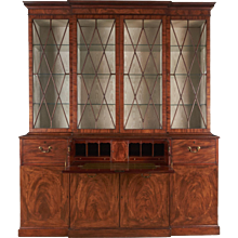George III Inlaid Mahogany Breakfront Bookcase