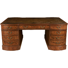 English Georgian Style Walnut Partner's Desk