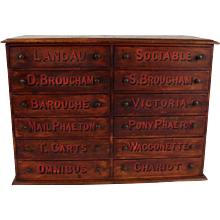 English Beechwood 12 Drawer Chest for Carriage Parts