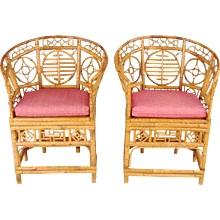 Vintage Chinese Export Bamboo Armchairs