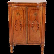 Sheraton Style Satinwood Decorated Music Cabinet