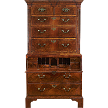 George II Walnut Chest-on-Chest with Secretaire