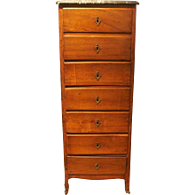 Louis XV Provincial Fruitwood Semanier with Marble Top