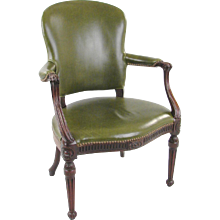 George III Leather Upholstered Armchair