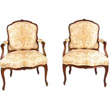 French Walnut Louis XV Style Armchairs