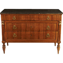 Italian Walnut 3-Drawer Commode with Marble Top