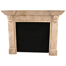 Georgian Style Faux Marble Carved Painted Pine Fireplace Surround