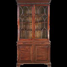 Georgian Mahogany Bookcase Cabinet with Glazed Upper Case