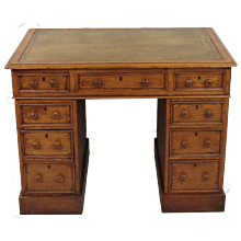 Small Oak English Pedestal Desk