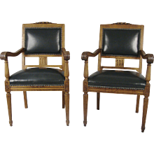 19th Century German Oak Leather Armchairs