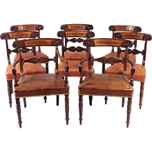 8 Regency Mahogany Brass-Inlaid Dining Chairs
