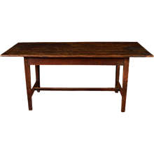 "English Provincial Farm Table with ""H"" Stretcher"