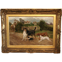 19th Century Oil Painting of Dogs Signed Cooper