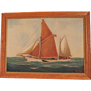 Vintage Painting of Sailboats Signed Morhmann