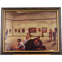 Lithograph of a Museum Gallery by Stan Washburn