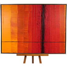 Mid-Century Oil on Canvas in Reds, Oranges and Black