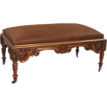 William IV Carved Rosewood Leather Upholstered Bench