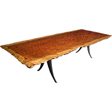 Bubinga Slab Top Table with Live Edges