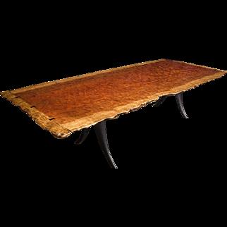 Bubinga Slab Top Table with Live Edges