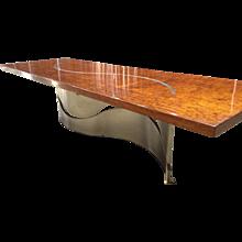 "Contemporary 2.25"" Thick Bubinga Slab Table"