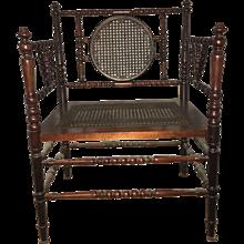 Caned Bobbin Armchairs