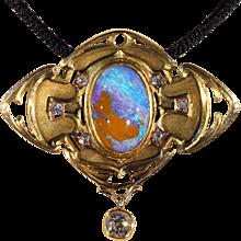 Blue Boulder Opal and Diamond Pendant Brooch, American Arts & Crafts