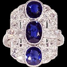Vintage Art Deco Sapphire and Diamond Ring
