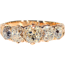 5 Stone Victorian Diamond Ring in 18k Rose Gold